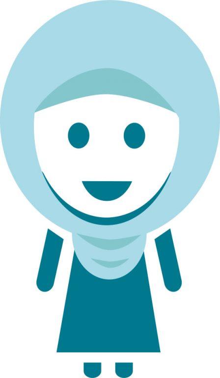 Sininen piirretty lapsihahmo, jolla on huivi päässä.