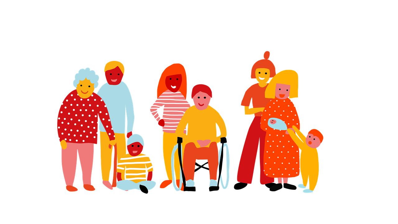 Piirretty ihmishahmoja vauvasta vaariin. Perheet keskiöön! -perhekeskushankkeen kuvituskuva