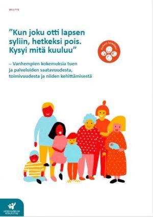Perheet keskiöön osallisuusviikon 2020 raportin kansikuva, jossa on kuvitettu, monimuotoinen joukko ihmisiä kokoontuneena yhteen.