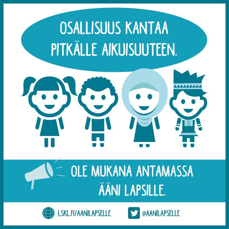Somekuva, jossa erinäköisiä piirrettyjä lapsihahmoja. Tekstinä: Osallisuus kantaa pitkälle aikuisuuteen. Ole mukana antamassa ääni lapsille!