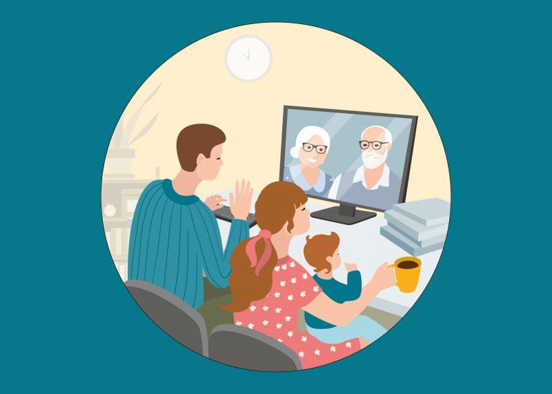 Kuvitettu kolmihenkinen perhe istuu tietokoneella puhumassa videopuhelua isovanhempien kanssa.