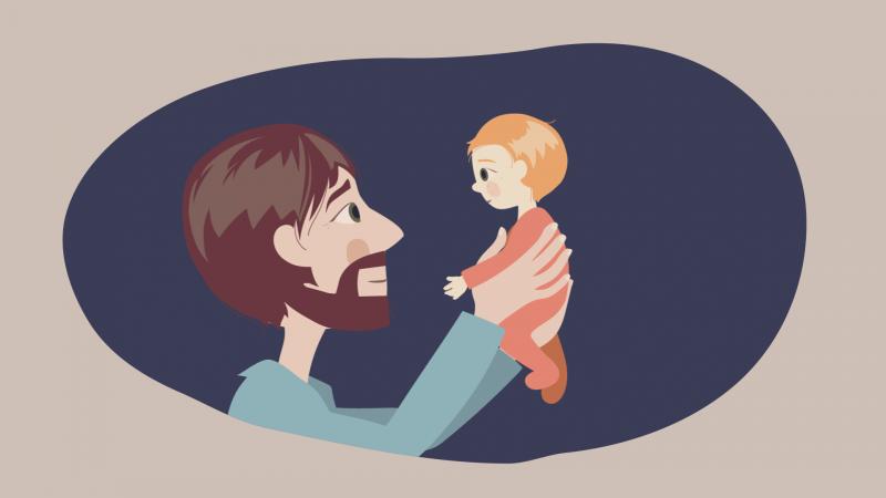Kuvitettu isä nostaa lapsen ilmaan. He katsovat toisiaan silmiin.