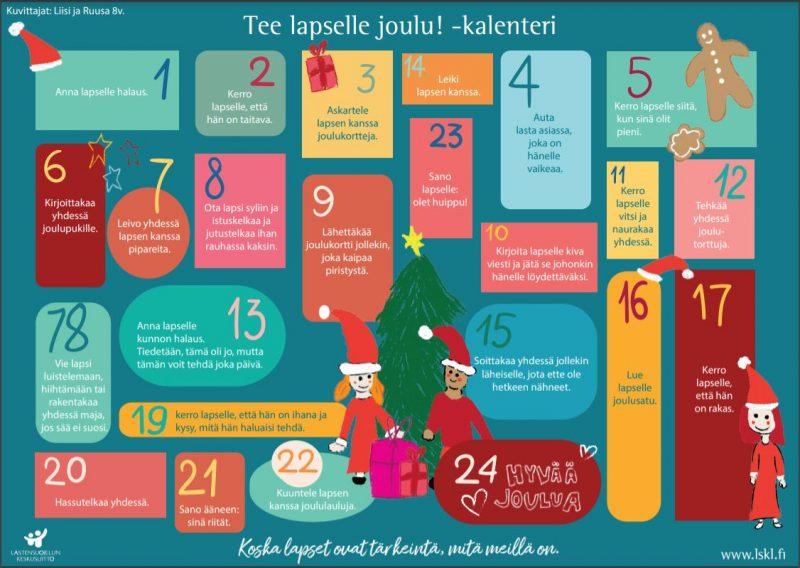 Kalenterissa on joulupukki ja -muori joulukuusen edessä sekä pipareita, joululahjoja ja muuta jouluun liittyvää.