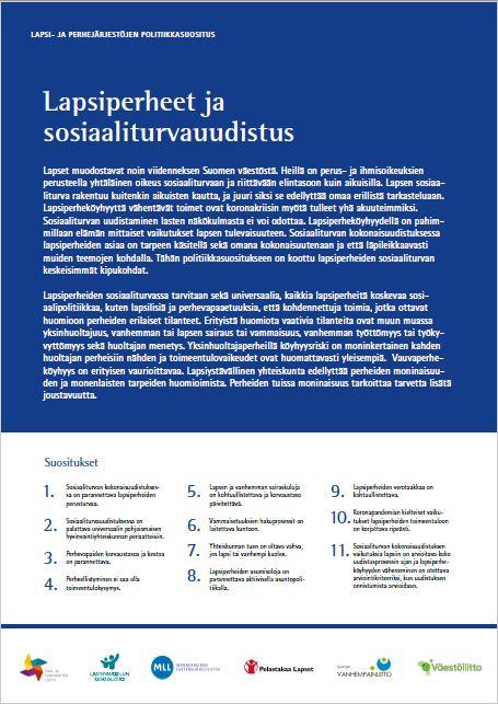 Lapsi- ja perhejärjestöjen politiikkasuositus: Lapsiperheet ja sosiaaliturvauudistus