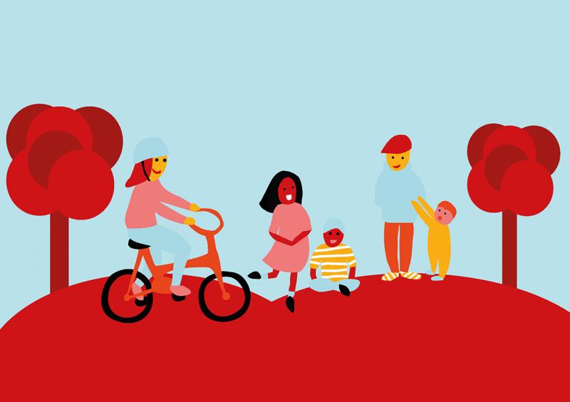 Piirroshahmoja: tyttö pyörän kanssa, nainen ja lapsi, mies ja lapsi käsi kädessä. Reunoilla puita.