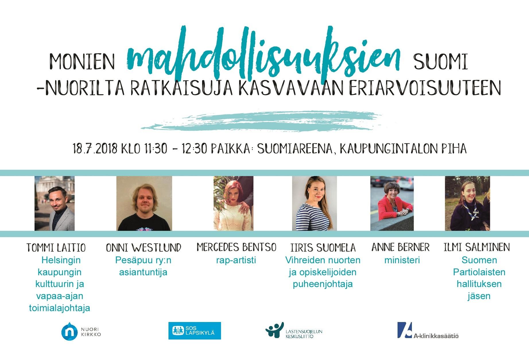 Nuoret osaajat hakevat ratkaisuja eriarvoisuuteen kesän SuomiAreenassa