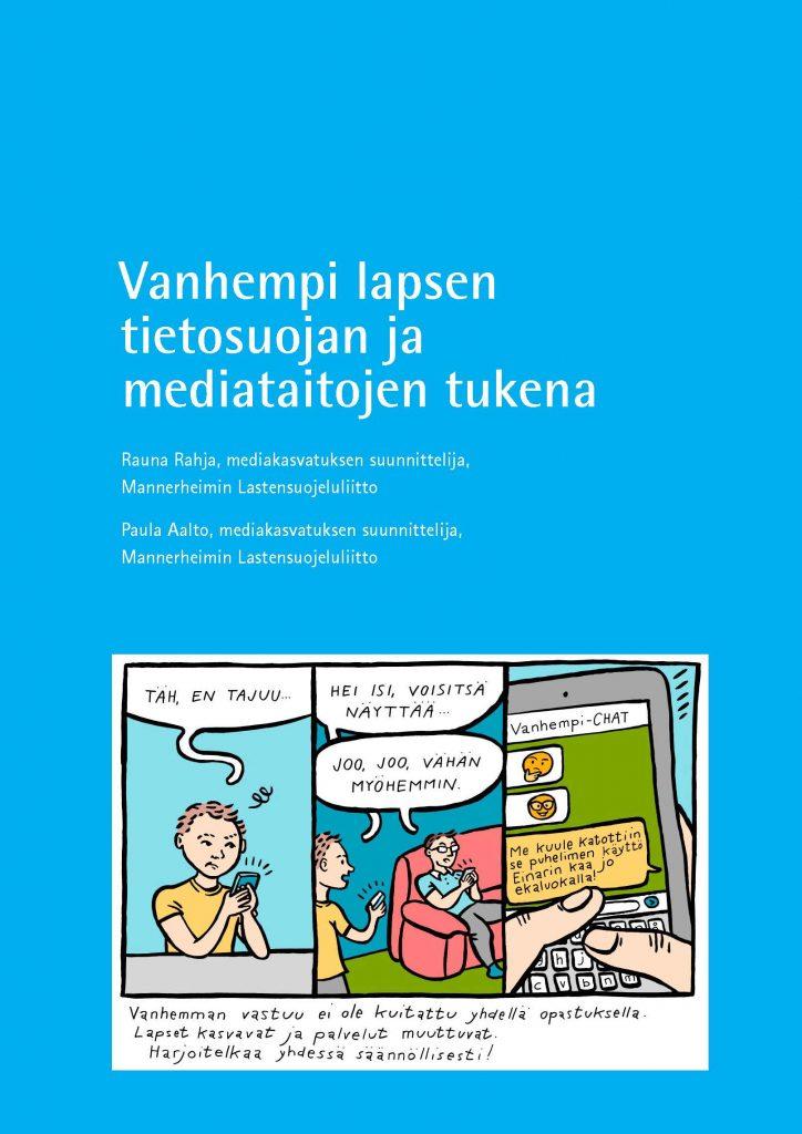 Vanhempi voi tukea lapsen mediataitoja. Sarjakuva, jossa nuori kysyy ongelmaan apua isältään.